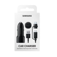 Samsung Dual USB Port Car Charger (15W) + Type-C & Micro USB Cable EP-L1100WBEGEU